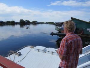 Patrick Firouzian aboard the Lake Clinic 4, getting set for some aerial footage of Cambodia's Tonle Sap.